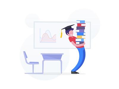 Education class chart graph blackboard desk books student education illustration character flat