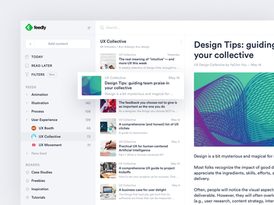 Feedly feed view ui ux reader sidebar feed redesign feedly rss desktop news article