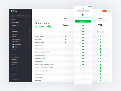 Feedly pricing desktop rss reader ux ui subscription plans table pricing redesign feedly
