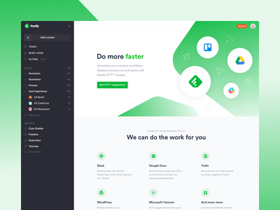Feedly integrations landing page testimonials desktop ui ux rss reader integrations landing page redesign feedly
