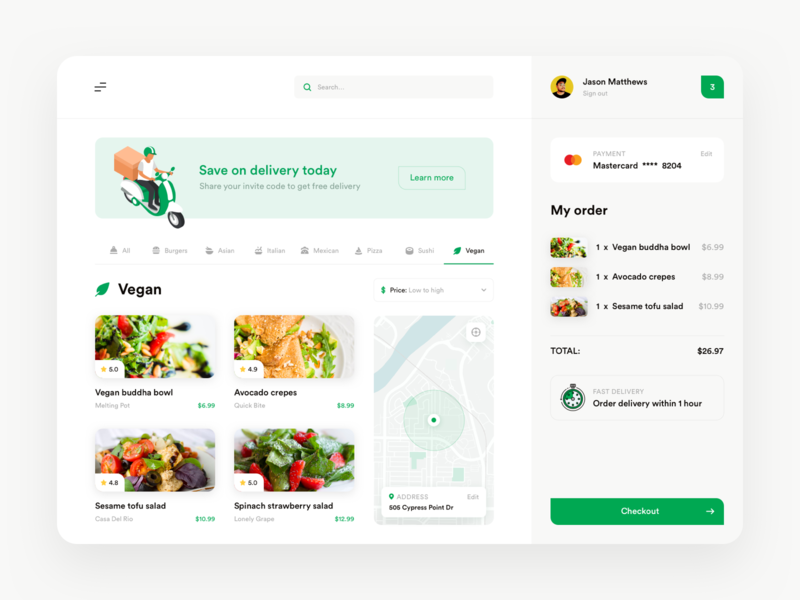 Delivery app shopping cart basket vegan ui desktop products banner map payment checkout food delivery