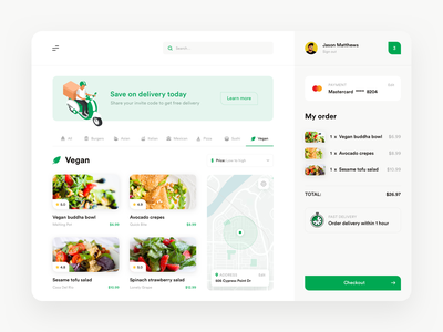 Delivery app eco location ecommerce shopping cart basket vegan ui desktop products banner map payment checkout food delivery