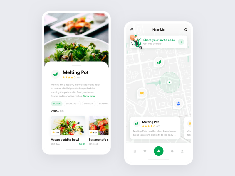Mobile Delivery App ui ux ios location banner vegan food map mobile delivery