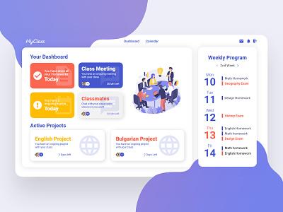 My Class - Dashboard school app school dashboard ui dashboad ux research webdesign web ux ui graphic design design