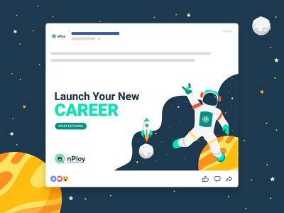 nPloy - Illustration job search job adobe illustrator spaceman astronaut space vector branding illustration graphic design design
