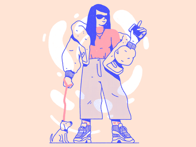 Instafluencer girl dog halftone abstract outline streetwear pattern dots texture procreate editorial illustration illustration character