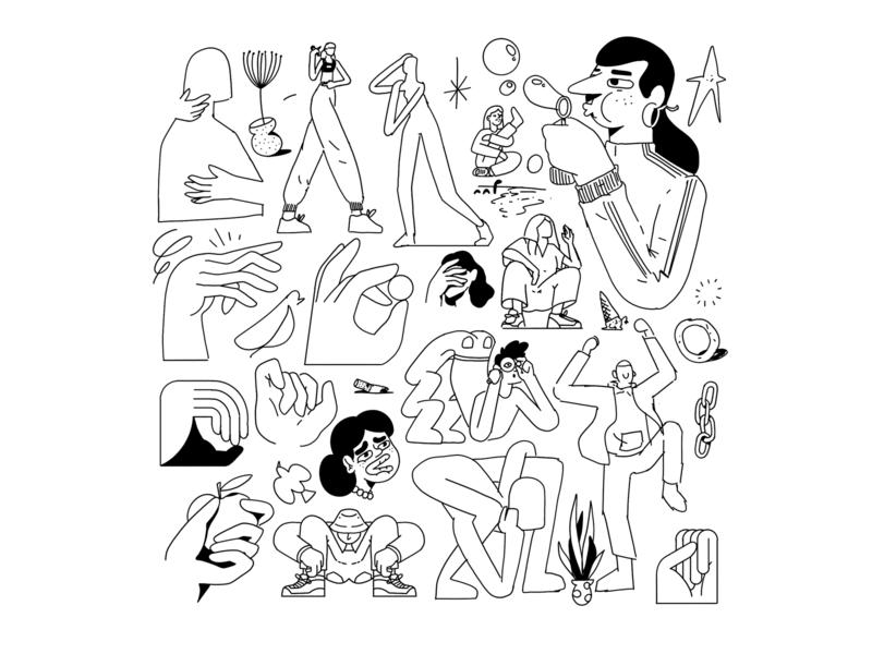 Sketchbook - 10 outline tattoo flash sketchbook sketch procreate editorial illustration illustration character