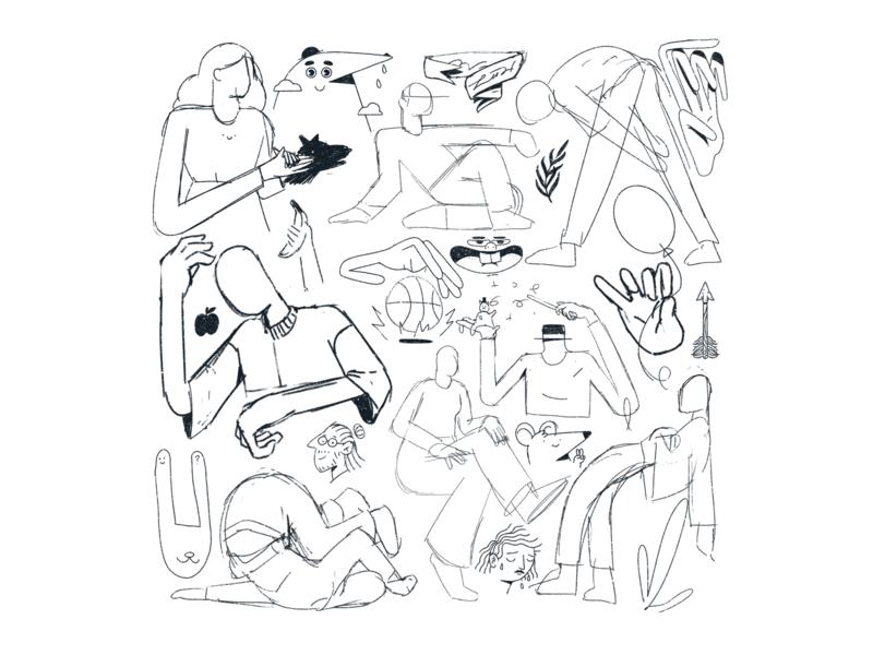 Sketchbook - 11 outline tattoo flash sketchbook sketch procreate editorial illustration illustration character