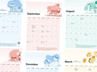 HR Calendar 2021 2021 hr calendar character editorial illustration procreate illustration