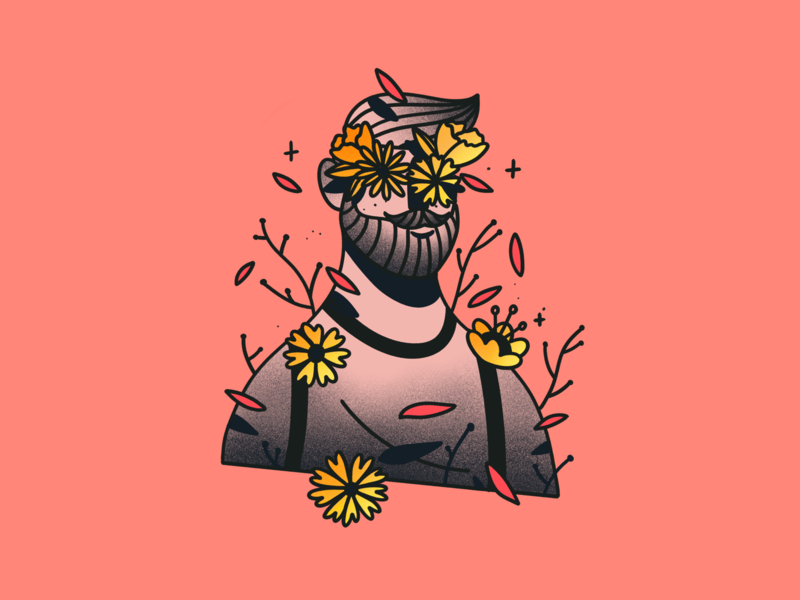 🏵️ Illustration nature autumn flower minimalist man procreate design illustration