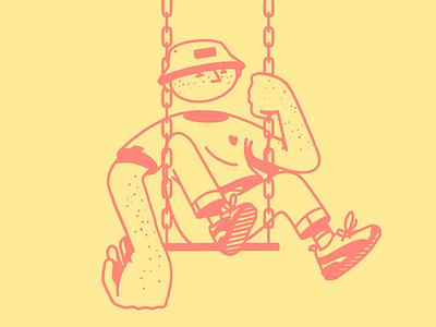 a man in sneakers is swinging streetwear duotone freckles swing editorial design man minimalist procreate design illustration