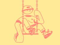 a man in sneakers is swinging