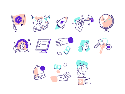 Spendesk Icons simple clean interface work outline sparkles abstract texture streetwear procreate minimalist illustration editorial illustration design icons