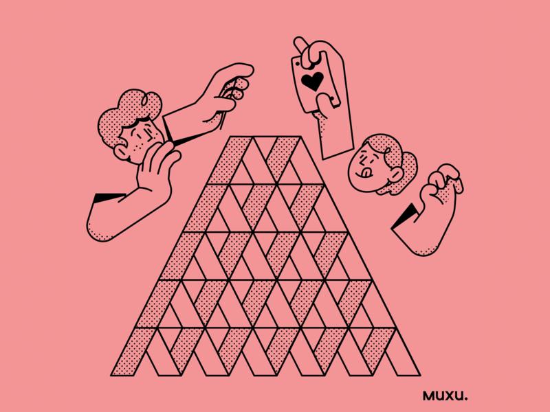 Poster Muxu.Values vector procreate design outline line pattern editorialillustration illustration