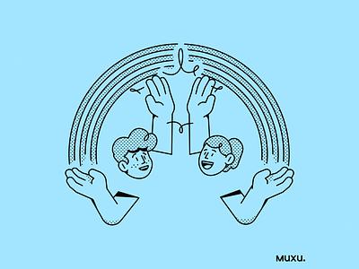 Poster Muxu.Values #4 vector procreate design outline line pattern editorialillustration illustration