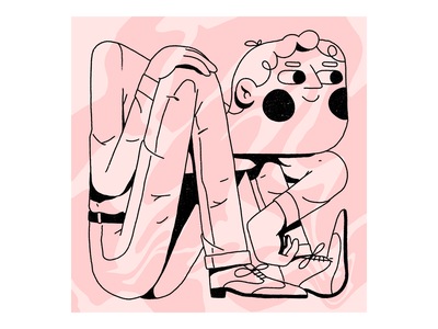 If I fit, I sit abstract outline streetwear pattern dots texture procreate editorial illustration illustration character