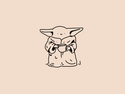 Baby Yoda cute af cute the child mandalorian baby yoda smile simple outline streetwear pattern dots texture procreate editorial illustration illustration character