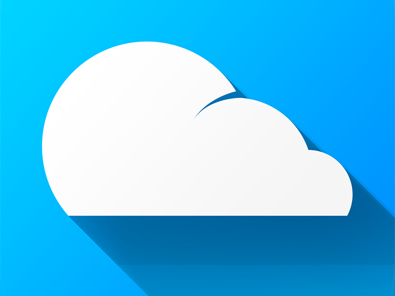 Molnat logo v.2 molnat app blue cloud ios icon flat long shadow