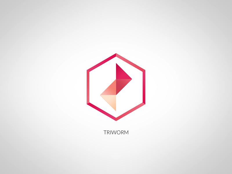 Triworm - fun logo triangle flat gradient folded logo red pink minimalistic