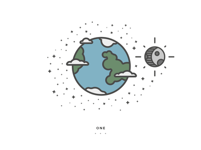 One earth line icon gif illustration flat animation