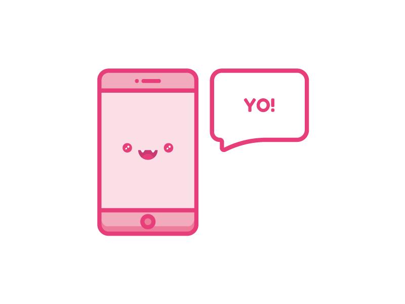 Yo! Phone zattberg cute mobile illustration icon vector happy phone yo