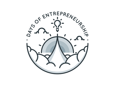 Days of Entrepreneurship icons black flat zattberg lightbulb clouds icon line grey blue logo days