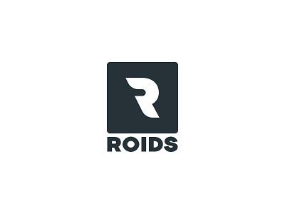 Roids logo zattberg minimal type typography black client brand white flat logo r