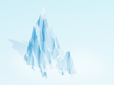 Ice mountain 3d gradient clean poly low illustration blue snow mountain ice