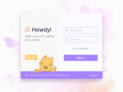 Howdy interface sign up sign in log in palette colors ux ui