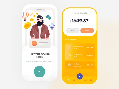 Invest and Play Mobile App ios flat illustration mobile clean app ux ui design