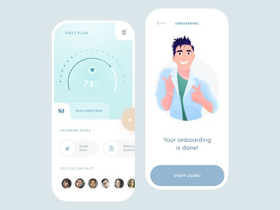 Hospital Residents Mobile App ios flat illustration mobile clean app ux ui design