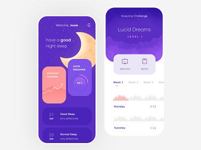 Sleeping Assistant Mobile App flat illustration mobile clean app ux ui design