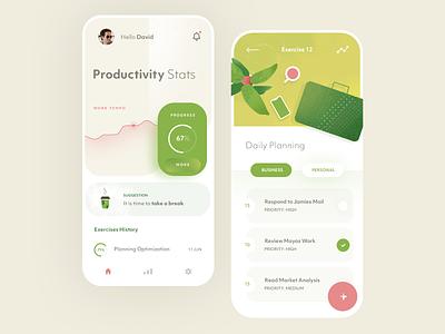 Productive Mobile App clean ux ui design app mobile