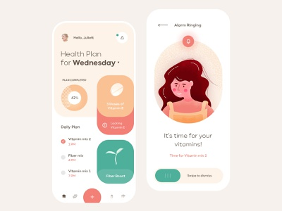 Health Planning Mobile App ios 3d flat illustration mobile clean app ux ui design