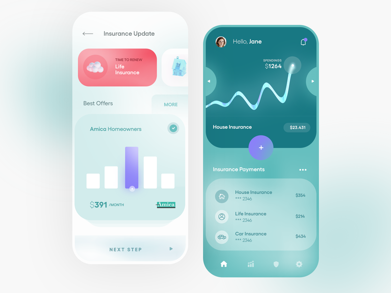 Insurance Manager Mobile App c4d ios 3d illustration mobile clean app ux ui design