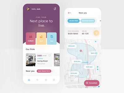 Real Estate Mobile App flat mobile clean app ux design ui