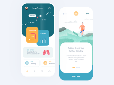 Lungs Health Mobile App ios flat illustration mobile clean app ux design ui