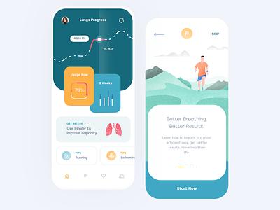 Lungs Health Mobile App ios flat illustration mobile clean app ux design ui
