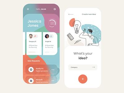 Ideas Sharing Mobile App ios flat illustration mobile clean app ux design ui