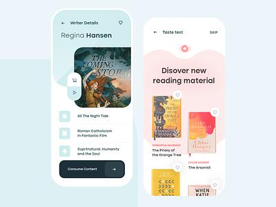 eBook  rental mobile app ios flat mobile clean app ux design ui