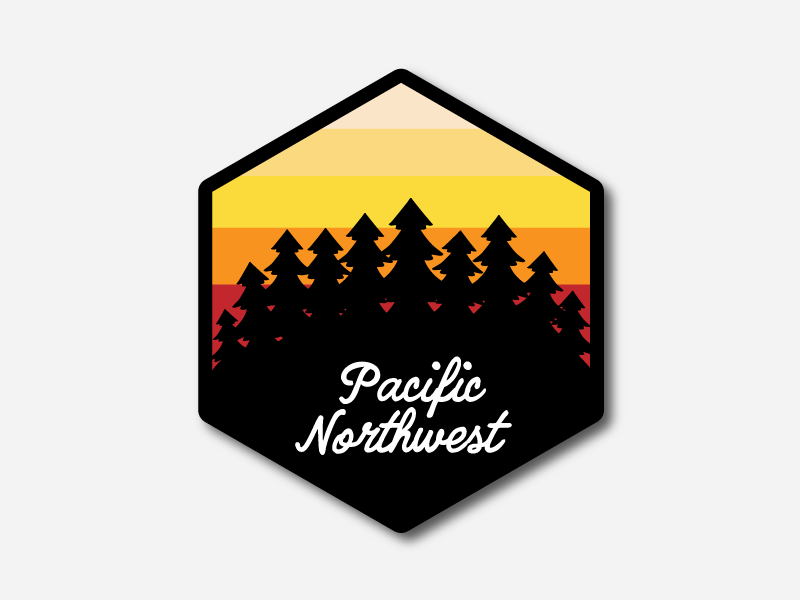Pacific Northwest Patch pnw trees sunset patch illustration badge