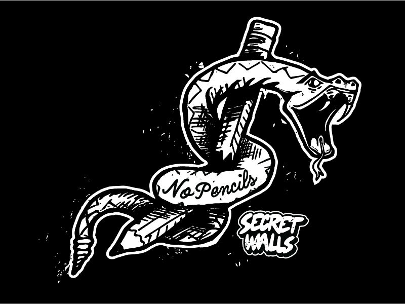 Secret Walls - No Pencils no pencils secret walls art design snake illustration tshirt apparel