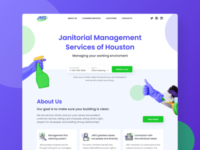 Janitorial Services - Landing page mop cleaning clean janitor shadow photoshop photo photos icon logo cards ux landing ui landing page typography design figma