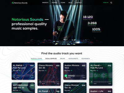 Notorious Sounds —  Music store homepage landing page typography design auto layout figma musicians musician store sing vocal disco dj gradient music store samples sample track