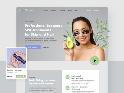Website for a SPA Salon design figma homepage treatment procedure healthcare health japan asia girl transparent background transparent cosmetology cosmetic skincare skin haircare spa