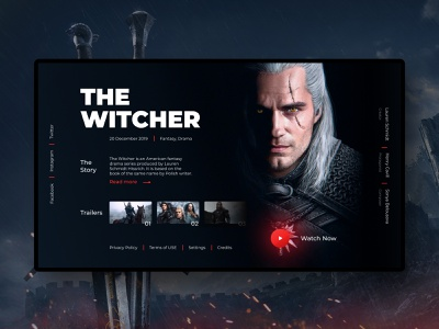 The Witcher tv movie fantasy magic dark trailers trailer cinema tv series the witcher witcher website web app ux ui typography figma design