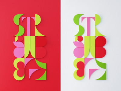 Strawberry letters 1 paper blender 3d blender sticky notes cut-out typogaphy letters 3d
