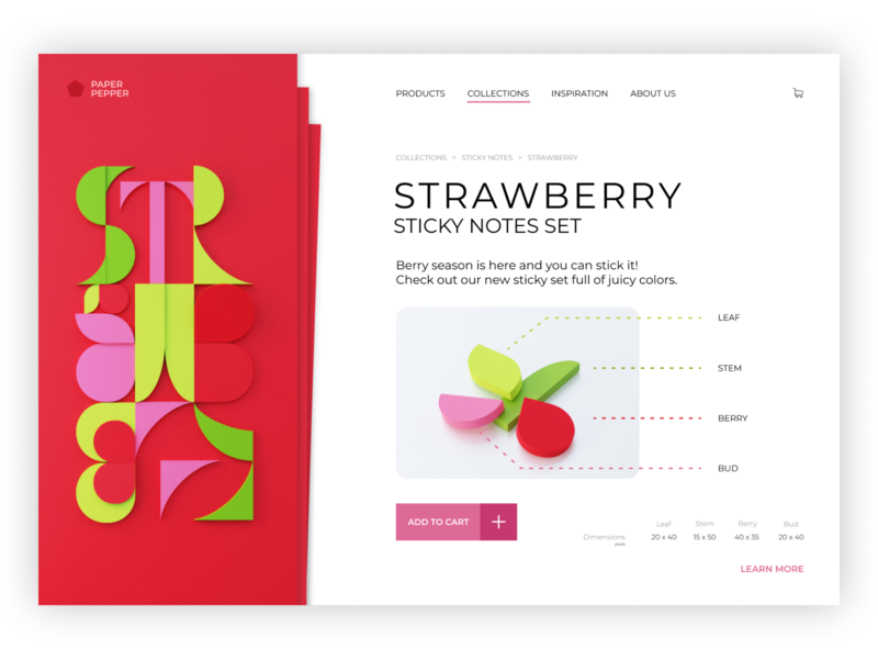 Website Paper Pepper - Strawberry Set ui web design web webdesign design colorful typogaphy sticky notes paper letters cut-out blender 3d blender 3d