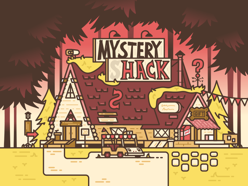 Come on down to the Mystery Shack! sunset shop trees golf cart gravity falls stroke vector