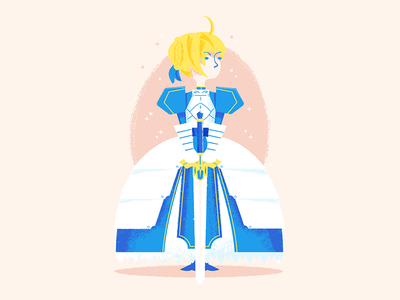 Saber king of knights woman illustration illustrator texture fate saber creative brain time